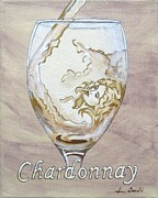 Wine Glass Paintings - A Day Without Wine - Chardonnay by Jennifer  Donald