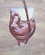 A Day Without Wine - Merlot Print by Jennifer  Donald