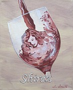 Wine Glass Paintings - A Day Without Wine - Shiraz by Jennifer  Donald
