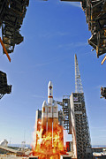 Rocket Boosters Prints - A Delta Iv Heavy Launch Vehicle Print by Stocktrek Images