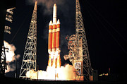 Space Travel Art - A Delta Iv Heavy Rocket Lifts Off by Stocktrek Images