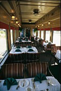 Linens Prints - A Dining Car Aboard The Royal Hudson Print by Michael S. Lewis