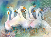Geese Paintings - A Disorderly Group Of Geese by Arline Wagner