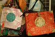 Purses Prints - A Display Of Silk Purses For Sale Print by Richard Nowitz