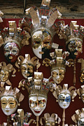 Religious Celebrations Prints - A Display Of Venetian Masks In A Shop Print by Todd Gipstein