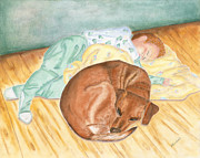 Sleeping Dog Pastels Posters - A Dog and Her Boy Poster by Arlene Crafton