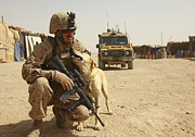Marine Corps Photos - A Dog Handler Posts Security With An by Stocktrek Images