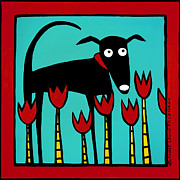 Black Lab Metal Prints - A Dog Named Tulip Metal Print by Anne Leuck Feldhaus