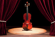 Arts Culture And Entertainment Metal Prints - A Double Bass On A Theatre Stage Metal Print by Caspar Benson