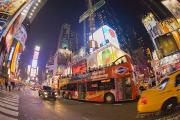 Crowds  Prints - A Double Decker Bus On Broadway Print by Mike Theiss
