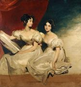 Full-length Framed Prints - A double portrait of the Fullerton sisters Framed Print by Sir Thomas Lawrence