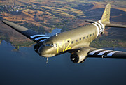 Warbird Photos - A Douglas C-53 Skytrooper In Flight by Scott Germain