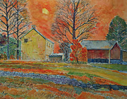 Fall Scenes Painting Framed Prints - A Dover Pennsylvania Farm Framed Print by Donald McGibbon
