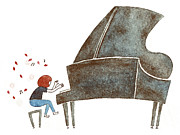 A Drawing Of A Young Girl Playing The Piano Intensely Print by Miho Fukumoto