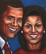 Michelle Obama Pastels Prints - A Dream Came True Print by Alga Washington