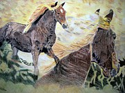 Wild Horses Drawings - A dream by Melita Safran