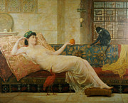Lounging Painting Posters - A Dream of Paradise Poster by Frederick Goodall