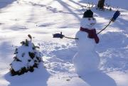 Winter Roads Photos - A Dressed Up Snowman Next To A Snow by Paul Damien