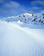 Crisp Prints - A Drystone Wall Covered In Snow At Ayton Banks Print by Joe Cornish