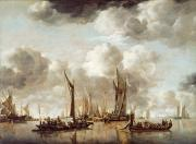 Salute Prints - A Dutch Yacht Firing a Salute as a Barge Pulls Away Print by Jan van de Capelle