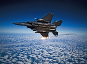 Missiles Framed Prints - A F-15e Strike Eagle Aircraft Releases Framed Print by Stocktrek Images