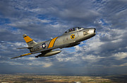 Sabre Prints - A F-86 Sabre Jet In Flight Print by Scott Germain