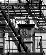 Nyc Fire Escapes Framed Prints - A Face among the Shadows Framed Print by Cornelis Verwaal