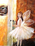 Yellow Fairy Painting Originals - A Fairy Today by Tina Steele Penn