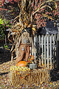 Picket Fences Photos - A Fall Scarecrow Display by Kenny Francis