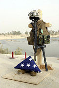 Service Dog Prints - A Fallen Soldiers Gear Display Print by Stocktrek Images