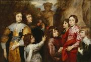 Family Portraits Framed Prints - A Family Group Framed Print by Sir Anthony van  Dyck