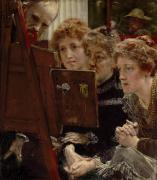 Gazing Prints - A Family Group Print by Sir Lawrence Alma-Tadema