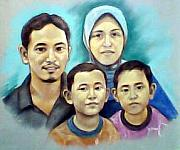 Etc. Pastels Originals - A family portrait of four by Mikarot