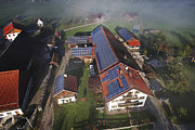 Efficiency Photo Posters - A Farm In Bavaria With Solar Poster by Michael Melford
