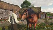3d Art Framed Prints - A Farmer and His Horse Framed Print by Jayne Wilson