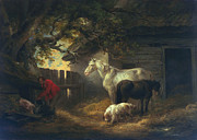 Swine Paintings - A farmyard by George Morland