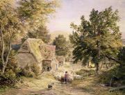 English Watercolor Paintings - A Farmyard near Princes Risborough by Samuel Palmer