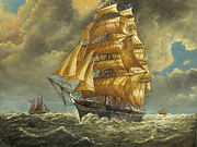 Eric Bellis Metal Prints - A Fast Clipper Ship Sailing Before the Winde Metal Print by Eric Bellis
