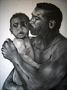 Fathers Day Drawings - A Fathers Love by Monique Mcknight