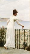 Veranda Framed Prints - A Favour Framed Print by Edmund Blair Leighton