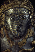 Metals And Metallic Substances Framed Prints - A Fearsome Visage Decorates A Thracian Framed Print by James L. Stanfield