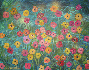 John Keaton Painting Framed Prints - A Field of Flowers Framed Print by John Keaton