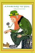 Luck Of The Irish Prints - A Fine Day To You Card Print by Debra     Vatalaro