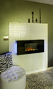 Leopard Skin Framed Prints - A Fireplace With A Raised Fire Black Framed Print by Christian Scully