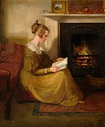 Novel Painting Framed Prints - A Fireside Read Framed Print by William Mulready