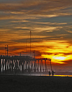Gary Brandes Photo Acrylic Prints - A Firey Sunset- Pismo Beach Acrylic Print by Gary Brandes