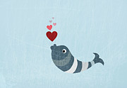 Striped Digital Art Prints - A Fish Blowing Love Heart Bubbles Print by Jutta Kuss