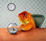 Clock Posters - A Fish Out Of Water Poster by Carrie Jackson