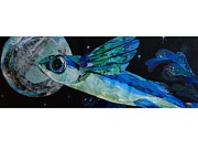 Sea Moon Full Moon Framed Prints - A Fish With Wings Collage Framed Print by Saori Murao