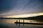 Etc. Photos - A Fisherman At Dawn Tries His Luck by Michael S. Lewis